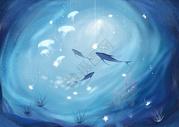 唯美蓝色背景海洋插画图片