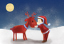 圣诞节小男孩和鹿图片
