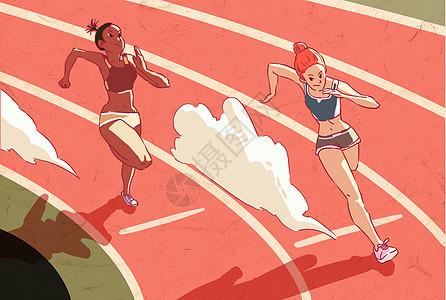 短跑比赛插画图片