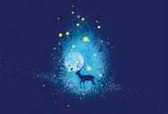 星空下的鹿插画图片
