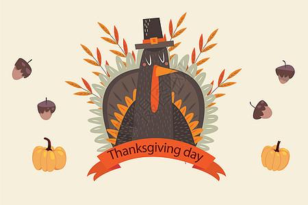感恩节手绘火鸡背景图片