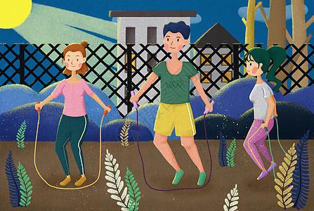 跳绳运动图片