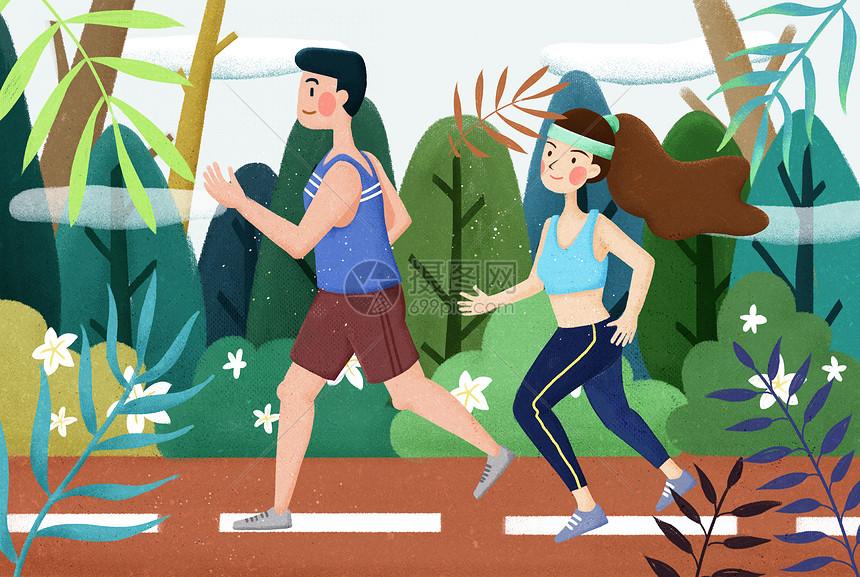 跑步健身男女图片