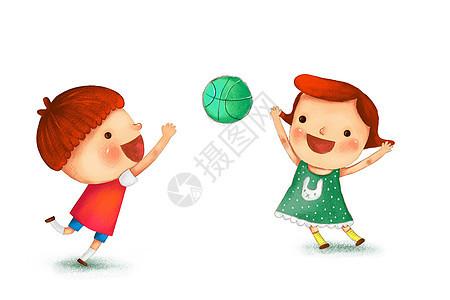 玩皮球的小朋友图片