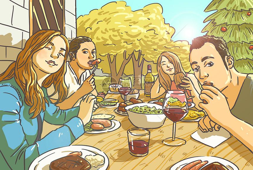 圣诞聚会插画图片