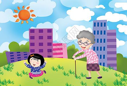 和奶奶一起散步图片