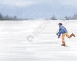 冬日麦田图片