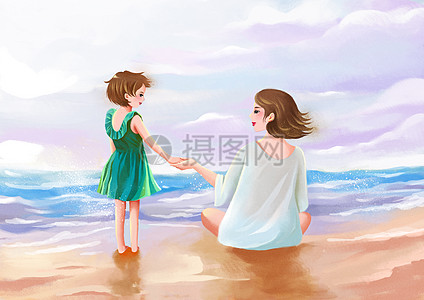 温馨母女插图图片