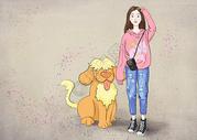 女孩与狗图片