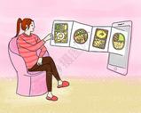 在线点餐 叫外卖手绘插画图片