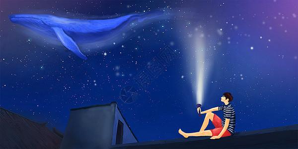 屋顶上的星空插画图片