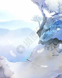 中国风唯美山景画图片