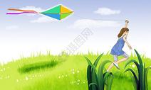 放风筝的女孩儿图片
