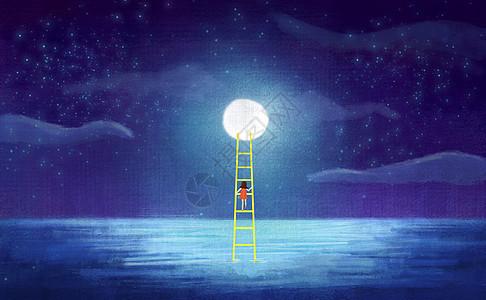 夜晚星空下小女孩登月图片