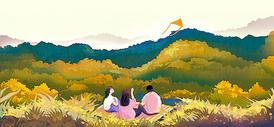 温馨家庭插画图片