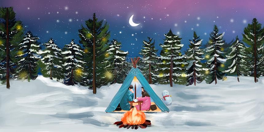 冬天圣诞节情侣插画图片