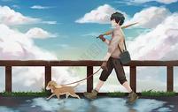 雨后的少年与狗图片