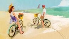 夏日情侣海滩图片