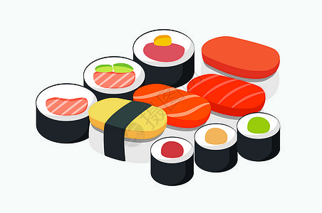 日本寿司插画图片