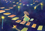 女孩与知识的阶梯插画图片