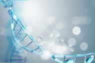 蓝色渐变DNA分子图片