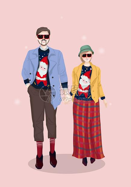 圣诞节情侣插画图片