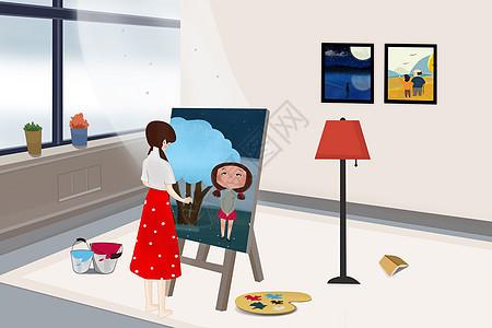 女孩画画插画图片