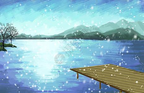 冬天海上飘雪图片