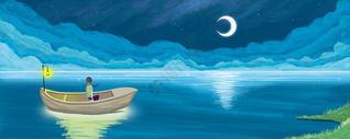月光下的船插画图片