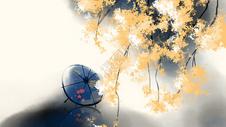 古风水墨油纸伞插画背景图片
