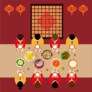 春节阖家团圆插画图片