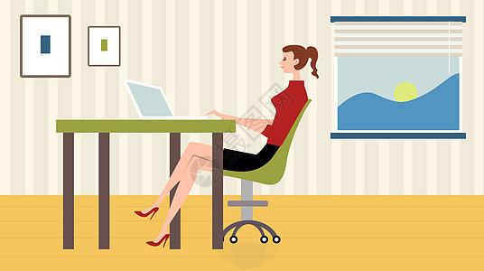 居家办公美女插画图片