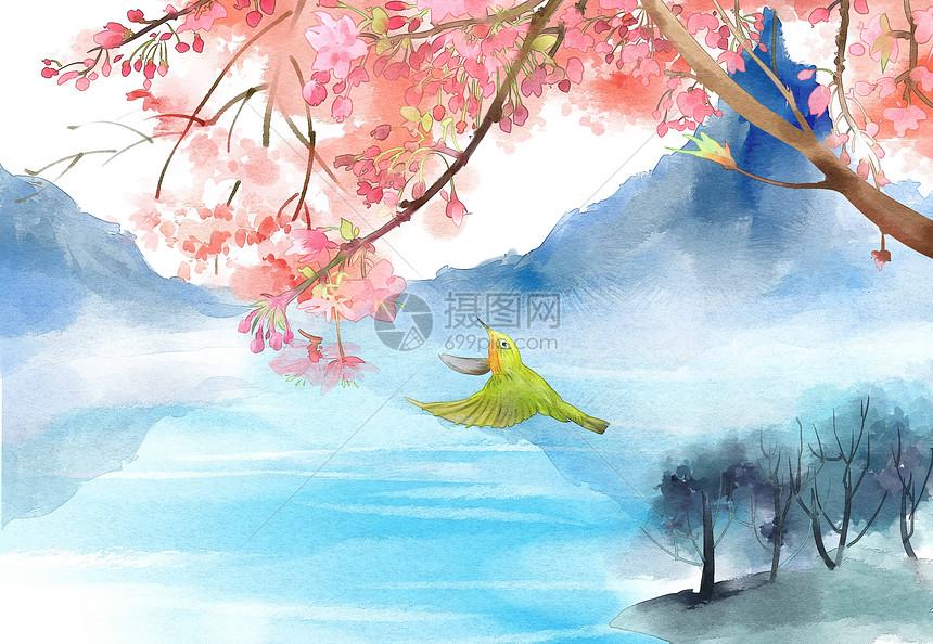 水彩清新花鸟自然风景图片