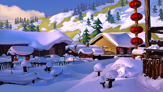 冬天雪景唯美插画图片