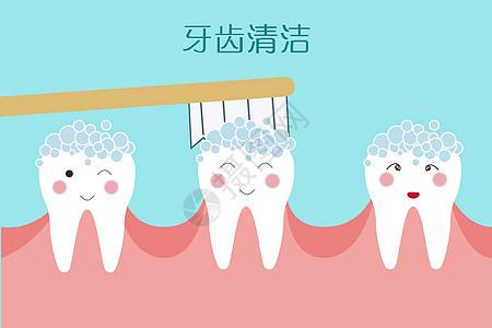 牙齿护理清洁卡通图图片
