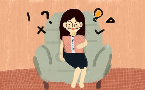 小清新坐着思考的女孩图片