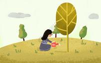 浇树的小女孩图片