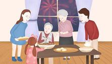 家人团聚插画图片