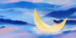 夜空河流女孩插画背景图片
