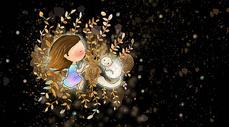 落叶上的女孩与猫图片