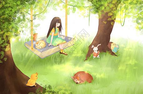 宁静的阳光女孩插画图片