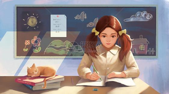 女孩在教室学习图片