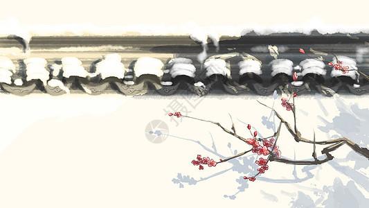 水墨风小雪节气插画图片