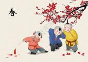 春节放鞭炮的孩子图片