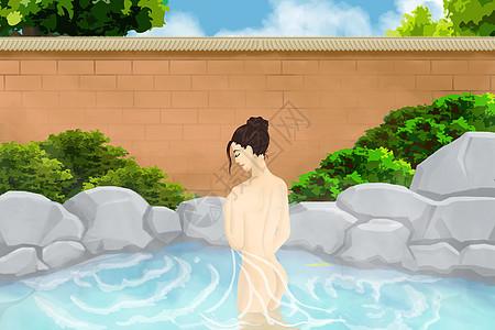 温泉沐浴的女人图片