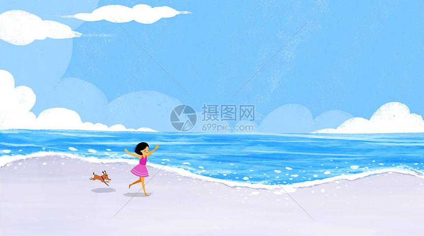 海边奔跑的小女孩图片素材_免费下载_psd图片格式_vrf