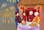 春节包饺子的一家人图片