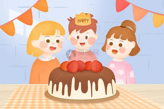 儿童生日聚会插画图片