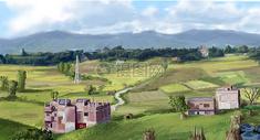 田园风景唯美插画图片