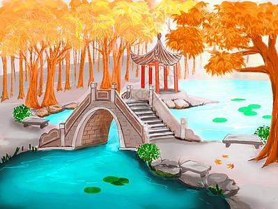 古风秋冬红叶池塘图片